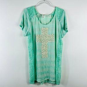Daytrip Mint Green Crochet Cross Striped Top